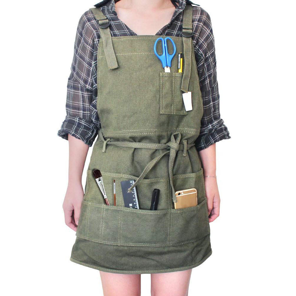 Fashion Painting Work Apron Painter Adjustable Neck Strap/Waist Ties Gardening Waxed Canvas Aprons for Adults