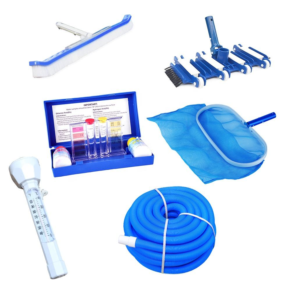 Pool Cleaning accessories , brush , vacuum head , leaf rake , PE hose , ph test kit and floating thermometer