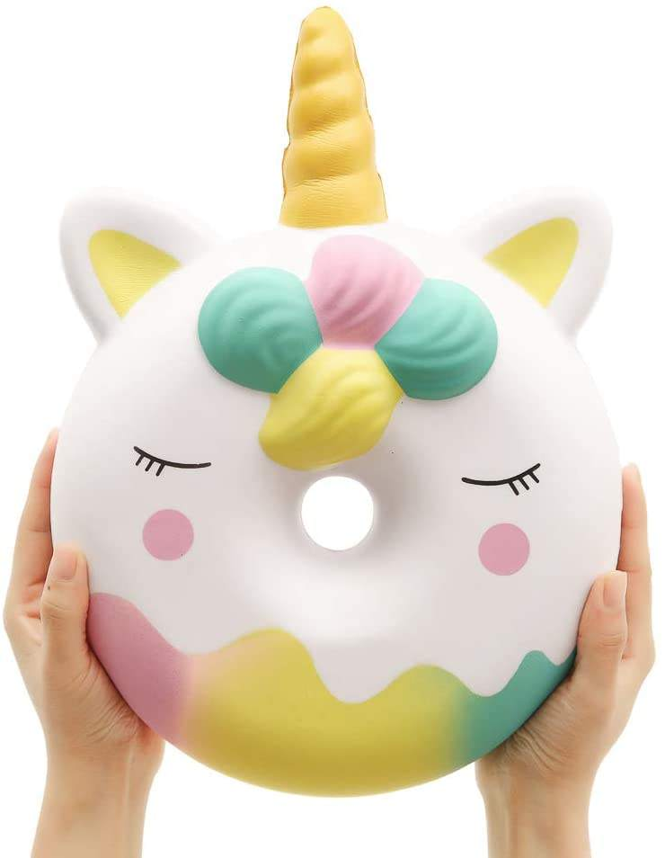 White 13 Inches Squishy Jumbo Unicorn Donut Kawaii Soft Slow Rising Scented Giant Doughnut Squishies Stress Relief Kid Toys