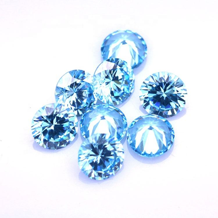 Synthetic Gems 3mm-6mm Round Brilliant Cut Aquamarine 3A fancy cut gemstone Cubic Zirconia Loose Stones