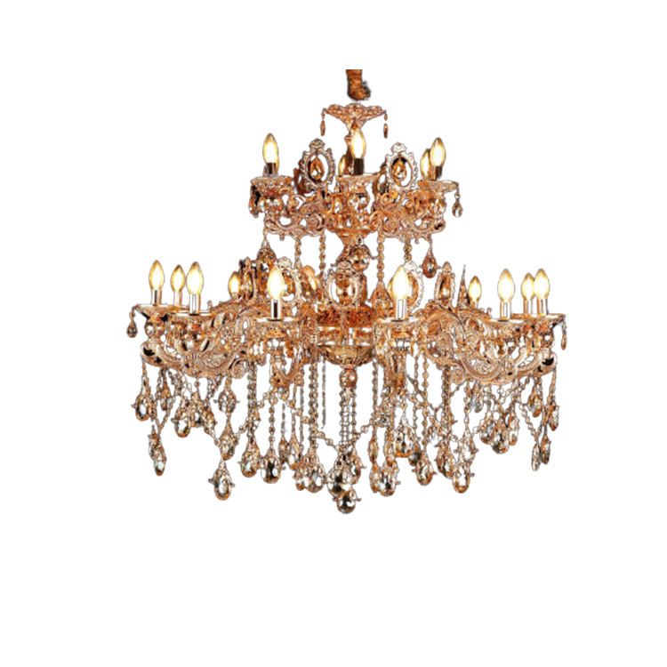Hotel Airport Lounge Decoration Metal Frame Candle Crystal Chandelier