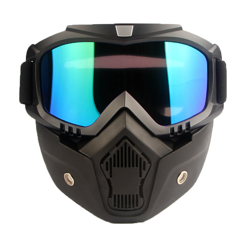 Removable Winter Snow Sports Motorcycle Goggles Ski Snowboard Snowmobile Full Face Helmets with Glasses