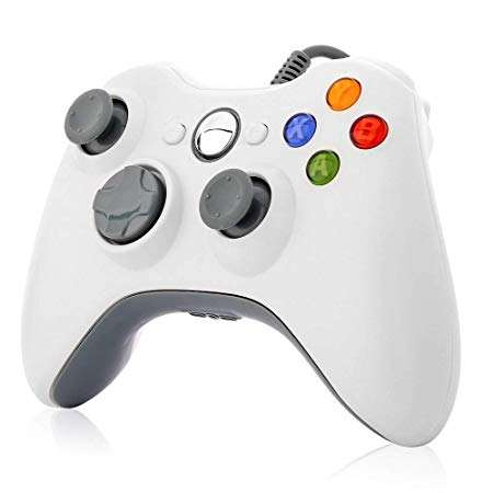 Miglior Design Xbox 360 Controller Wired Controller Gamepad per trasporto di Microsoft Xbox 360 & Slim/Windows/PC (Bianco)