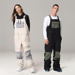 Solid Waterproof Snowboard Bib Pants Ski Bib Pants Suits