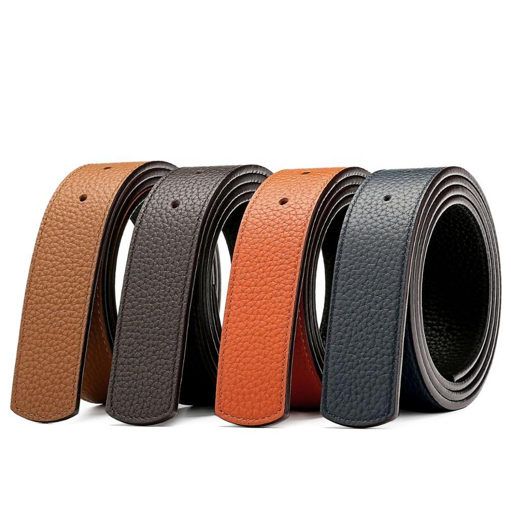 Double Sided Reversible Top Full Grain Genuine Leather Replacement Belt Strap Without Buckle