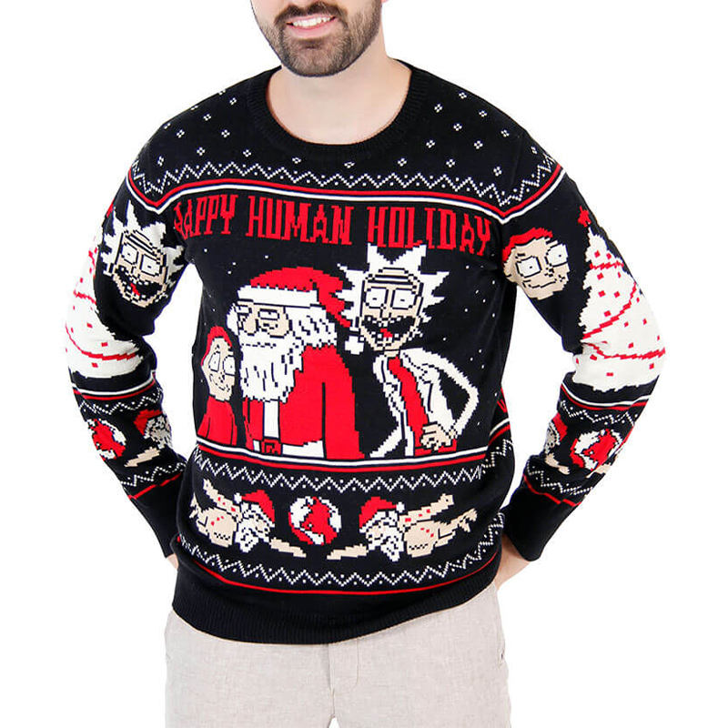 Quality New Arrival Latest Design Unisex The Best Black Jacquard Knit Ugly Christmas Sweater