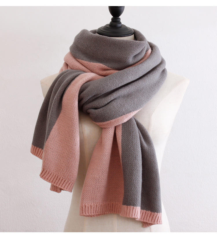 Color matching simple fine wool knit long female scarf winter warm dual-use collar spot
