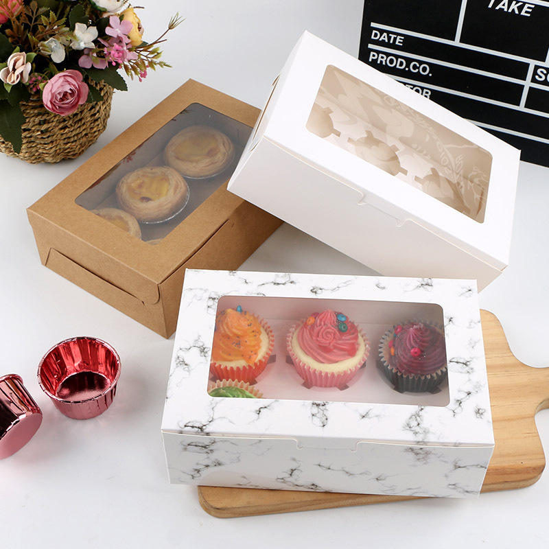 Pastry box with 6 dividers Cupcake Packaging Cookie Boxes Wholesale Baking Food Paper Gift Box Dessert Candy Foldable Cardboard