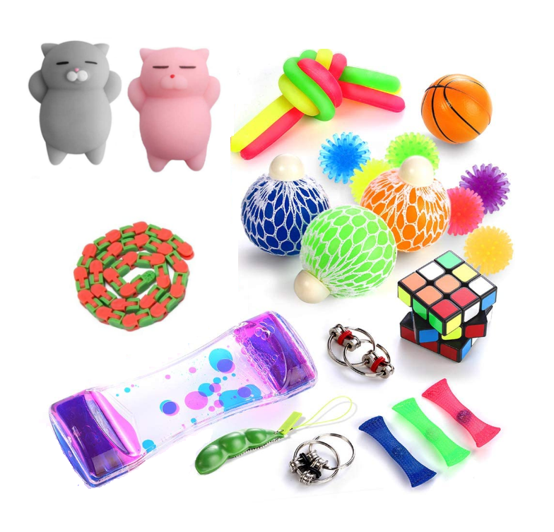 Sensory Fidget Toys Set,24pack,Stress Relief and Anti-Anxiety Tools Bundle,Flippy Chain,Squeeze Balls/Soybean,Timer & More