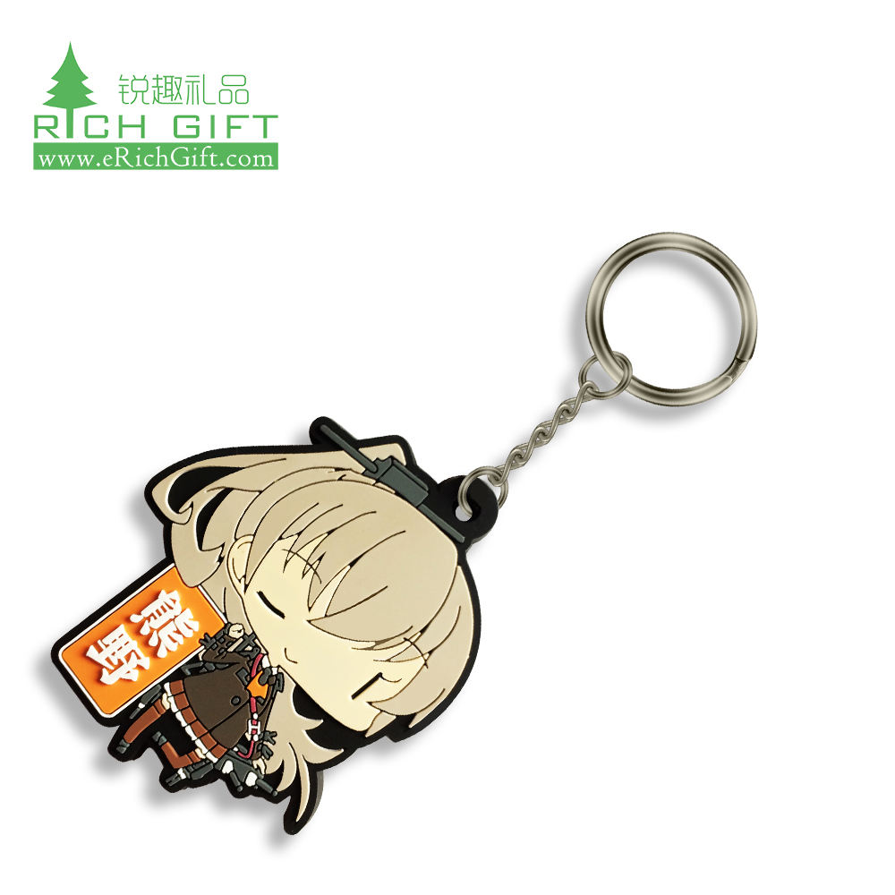 wholesale clear giveaway sublimation custom made bear anime cartoon logo 3d rubber soft pvc keychain for promotional