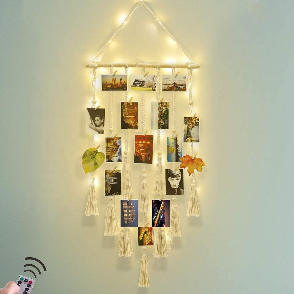 Macrame Wall Decor Hanging Remote Fairy Light Boho Home Decor with 30 Wood Clips for Photo Collage Frame (Ivory)