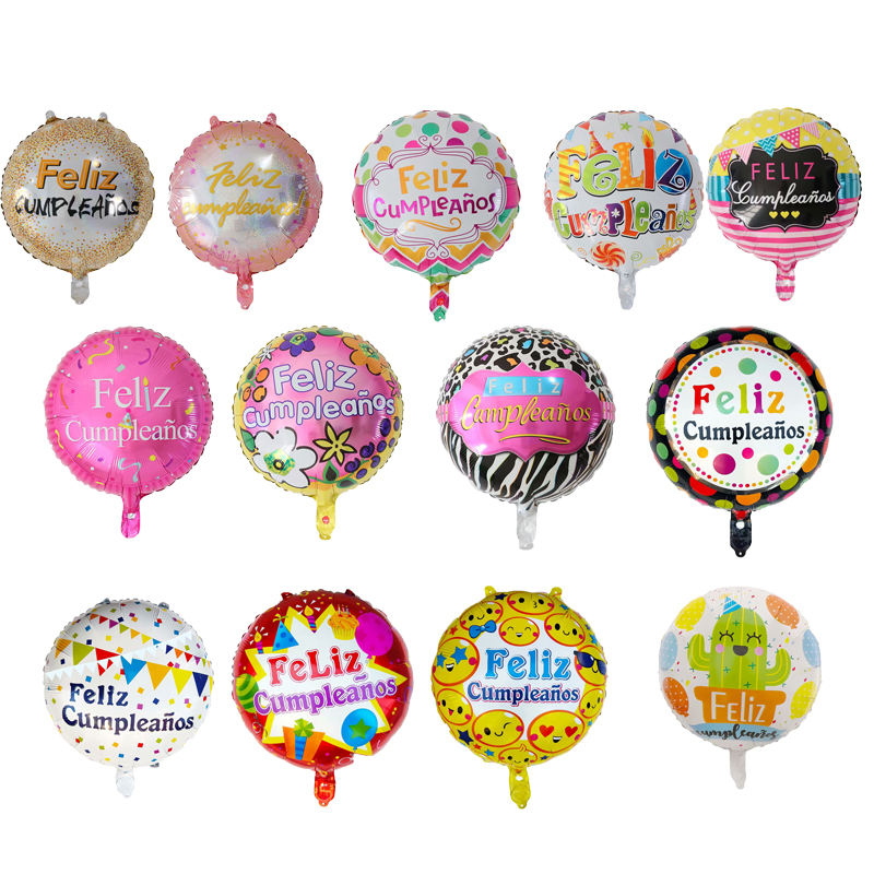 Wholesale New design 18 Inch Spanish Happy Birthday Feliz cumpleanos foil balloon for birthday Party decoration globos
