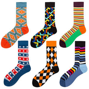 XIANGHUI Wholesale Custom Men Fashion Funny Geometric Strip Jacquard Tube Cotton Crew Happy Socks