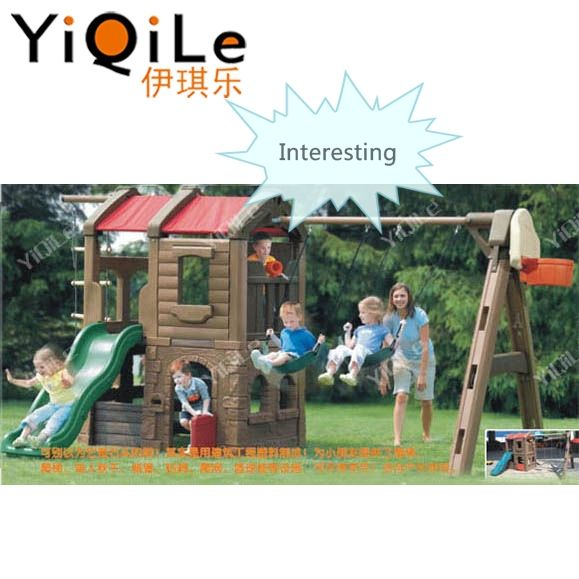 YiQiLe high quality kids plastic toys slide & swing play sets nature amusement park playground slide for outdoor playing on sale