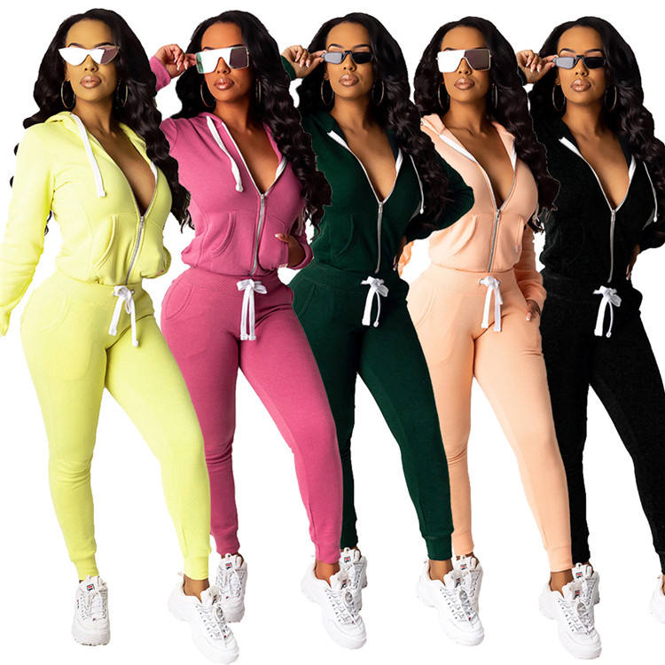 10AF174 hot zipper front solid color casual hoodies fall 2020 Outfits Two Piece Pant Set Women