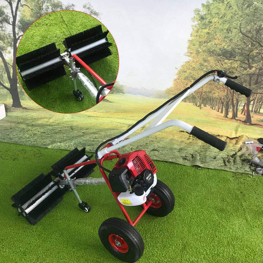 Gas power hand held sweeper broom cleaning driveway turf grass walk behind 43cc.