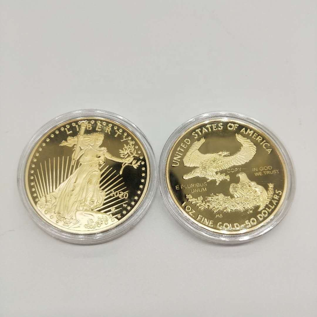 Statue of Liberty American Eagle Gold Plated coin Wholesale Manufacturer plated