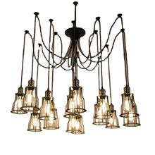 Vintage iron indoor living room led black hanging pendant light modern decorative high quality linear ceiling chandelier lamp