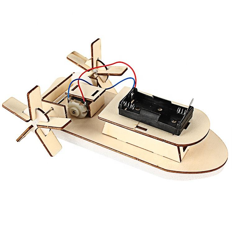 NEW Children diy Electronic wooden boat toys for child educational boat with wheels