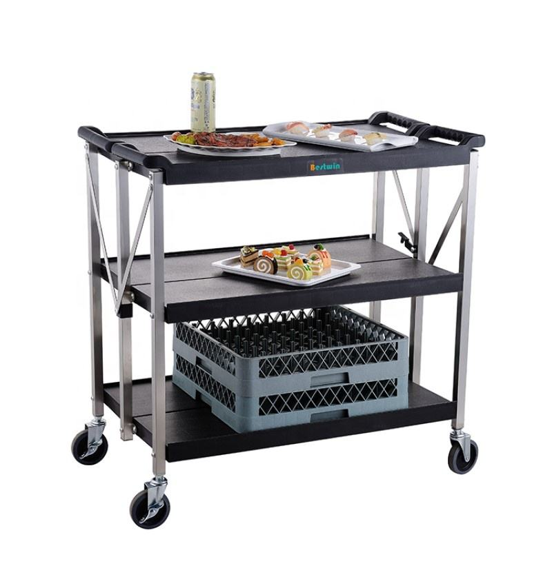 Foldable Hotel Restaurant Service Plastic Food Trolley Collapsible Utility Cart