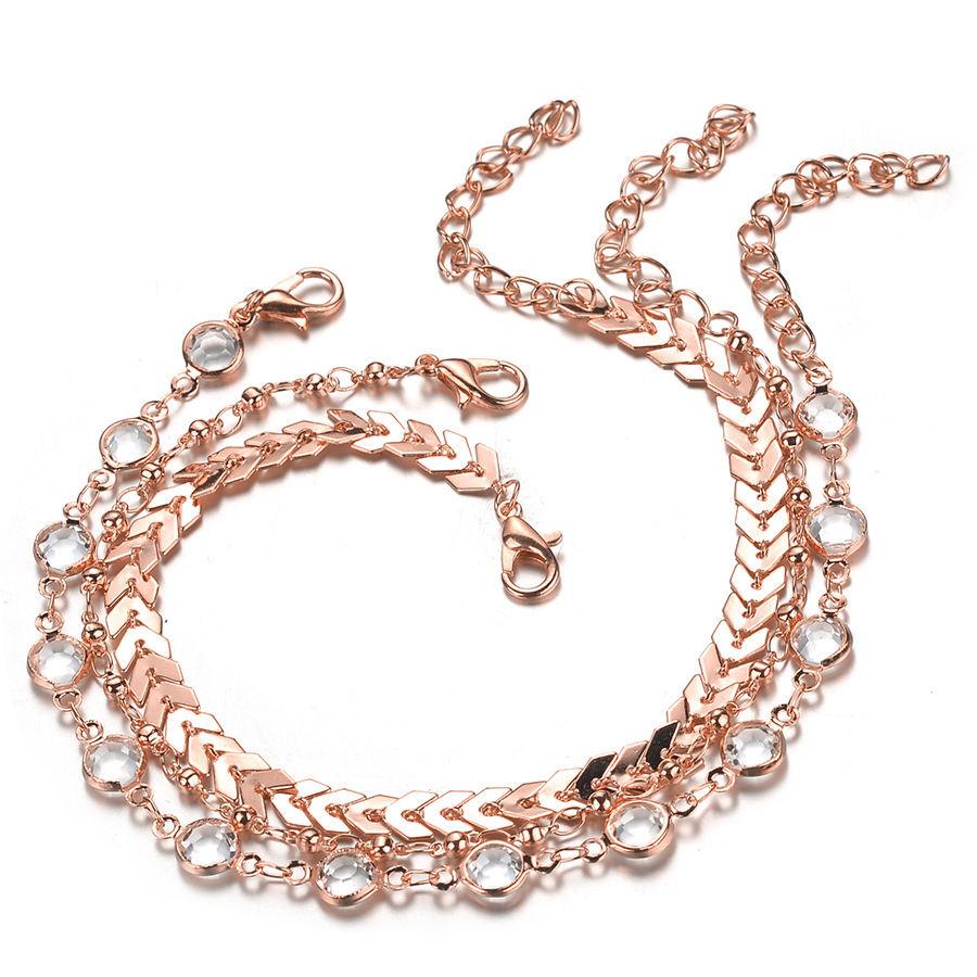 3 pièces/ensemble En Gros Bijoux De Cheville Cheville Bracelet Trois Couches Bling Diamant Strass Femme Pied Cheville