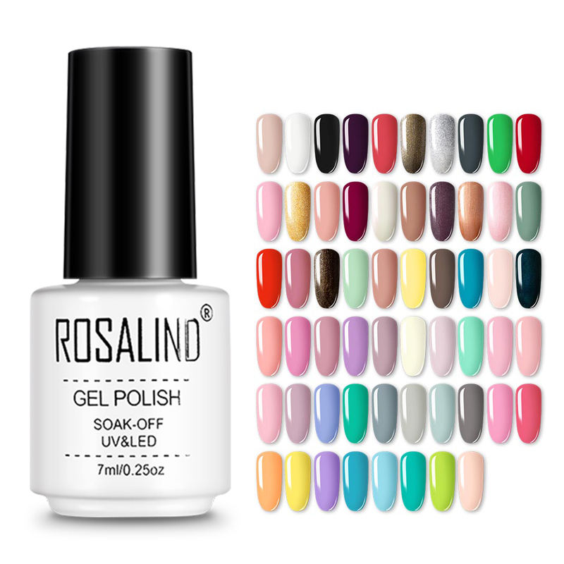 Rosalind professional nail supplies art gel nail polish oem private label 7ml pure color uv/led gel polish for nail salon