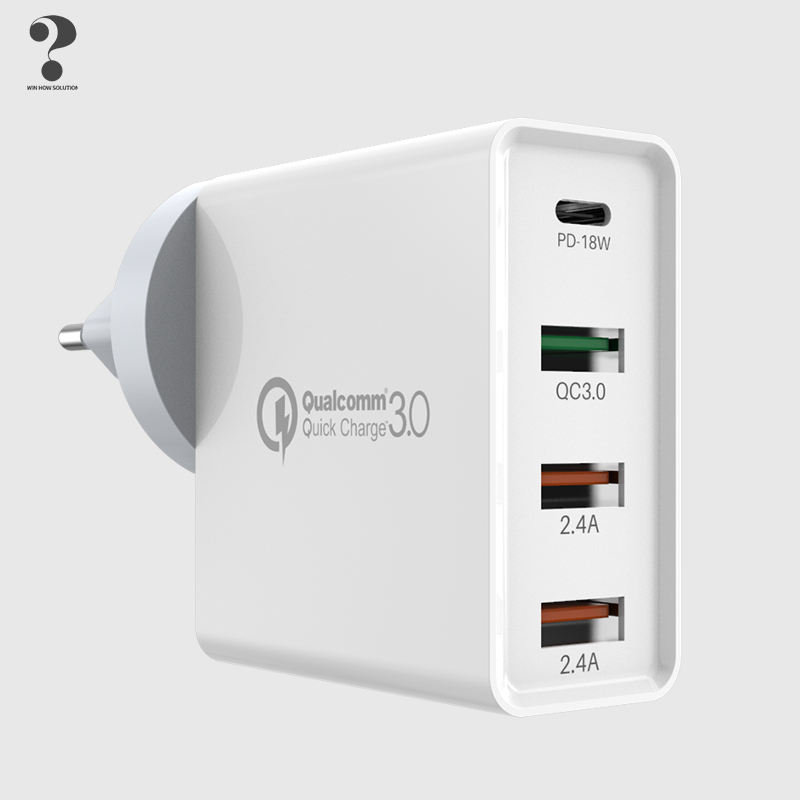 4 poort 2.4A Universal Power Travel Pd 18W Quick Charger 3.0 Smart Adapter Usb Wall Charger