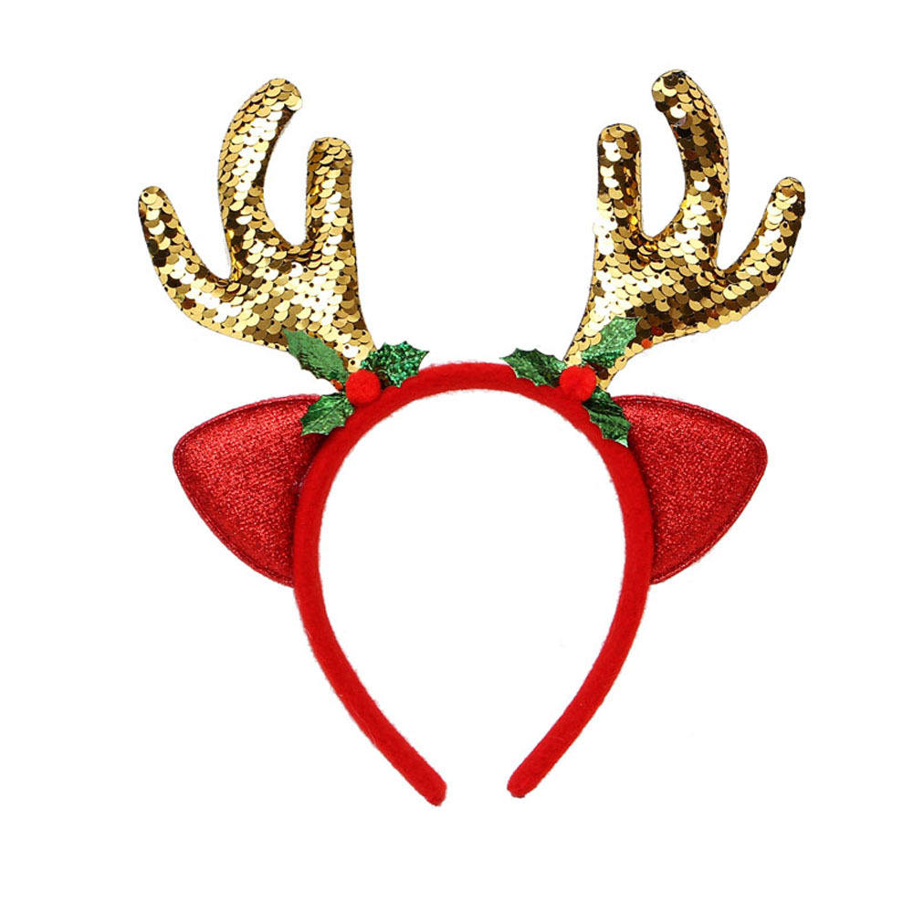 2019 New fancy style fabric covered Christmas hair decor sequins deer horn ear headband for kids