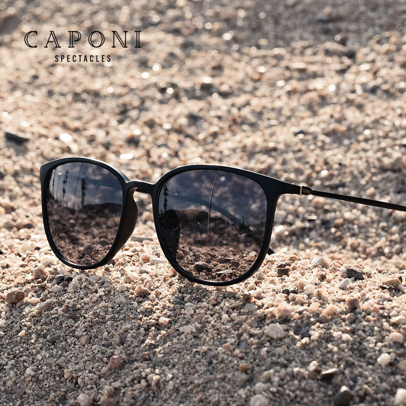 CAPONI Luxury Light Frame Trendy Men's Shades Driving Fishing Cycling Sport Photochromic Sunglasses Polarized Unisex