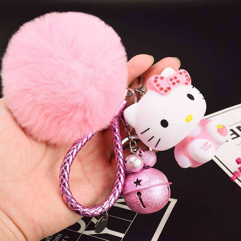 Cartoon Doll Keychains 3D Hello Kitty Design with Pom Pom Fur Balls Key Chain Rubber Wrist Strap Car Bag Handbag Key Rings Gifts