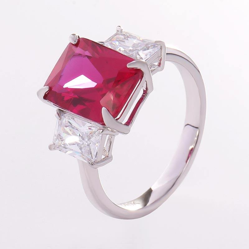 3 Stone style 10k white gold ring with 10x14 Corundum Ruby gemstone for daily matching