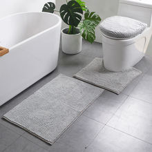 High quality OEM factory price modern bathroom shower rug short chenille 3 piece bath mat sets