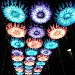 Handmade, assemblage technics lantern light sculpture