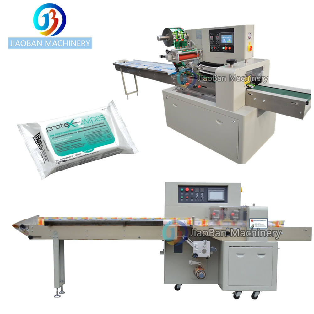 JB-350X Automatic wet tissue packing machine with top side label horizontal 20pcs wetwipe packaging machine