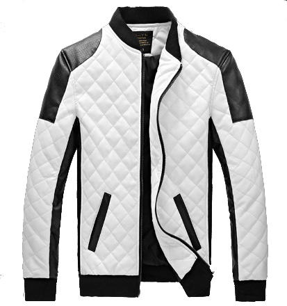 Fashion Trend Men's Washed Diamond PU Jacket Large Size Men's Leather Jacket
