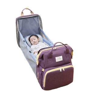 Wholesale Portable Waterproof Mummy Back Pack Crib Large Capacity Mom Backpack Foldable Baby Bed Diaper Bag