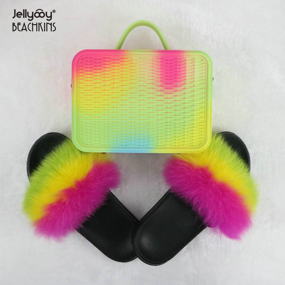 Jellyooy BEACHKINS Woven Rainbow Jelly Bag Matte With Fox Fur Slides Sets Purse Bag Match Colorful Fur Slippers Sandals