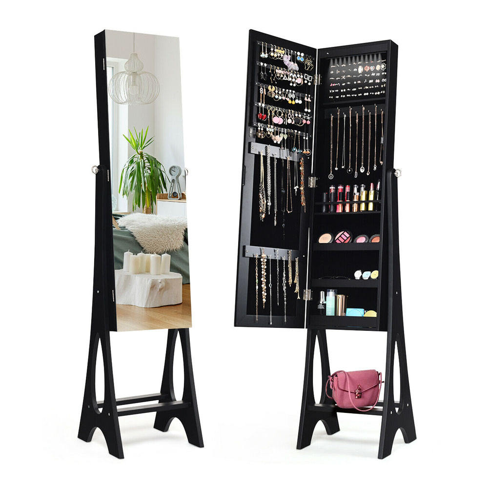 LED Jewelry Cabinet Armoire Organizer Mirrored Standing Floor Jewelry Armoire for Home