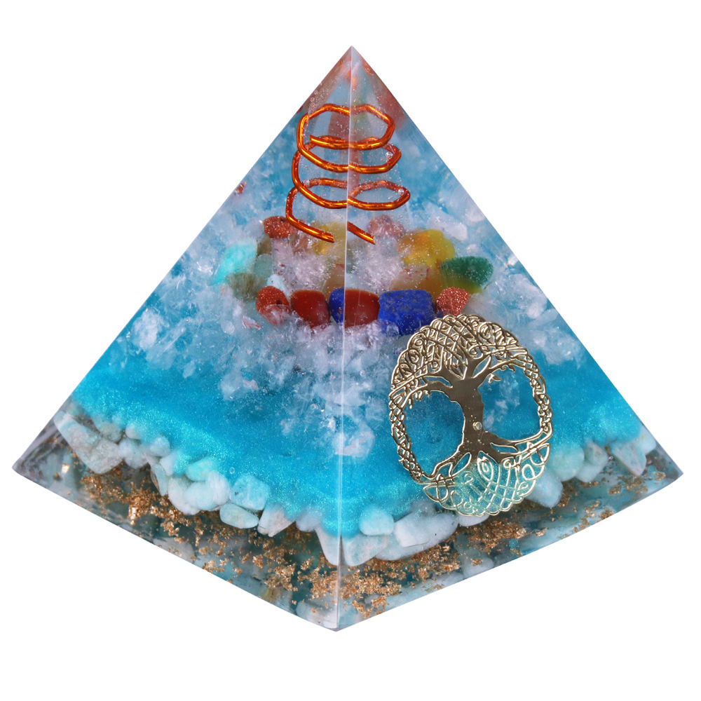 Tree Of Life Amazonite Resin Jewelry Decoration Faith Creativity Pyramid Energy Generator 7 Chakra Crystal Orgone Pyramid
