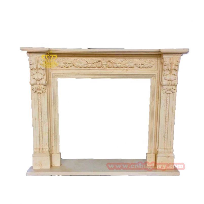 Home Decor High Quality Western-Style Marble Fireplace Made In China Decorative Flowers