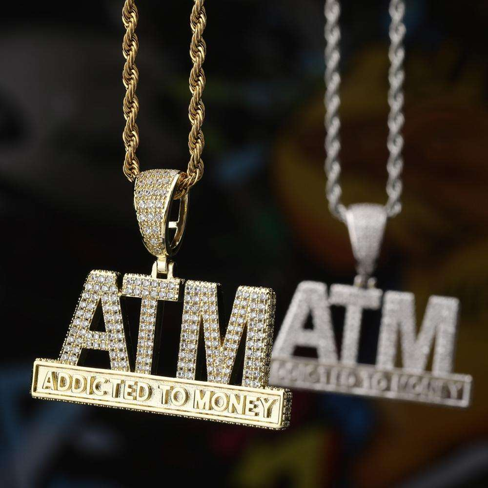 Wholesale Mens Hip Hop 18K Gold Plated Iced Out ATM Addicted To Money Pendant Necklace