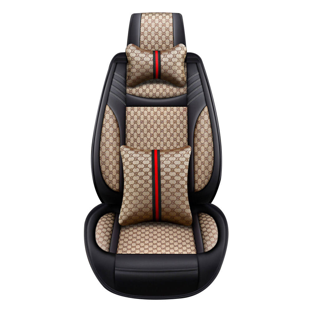 Universal Linen & PU Leather Car Seat cover Deluxe Edition car seat saddle cushion waterproof durable cover