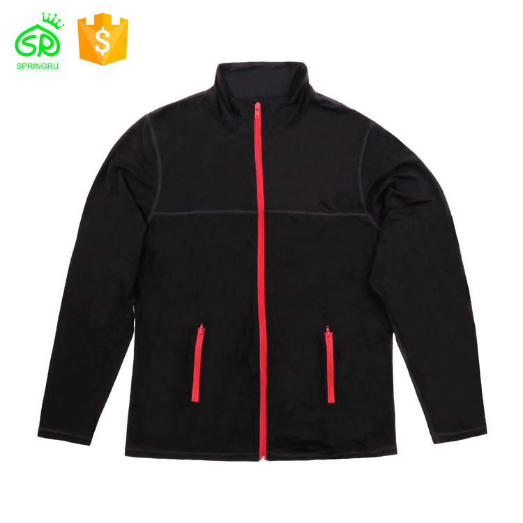2020 Custom Sport Black Cotton Jacket Red Zipper Polo Jacket
