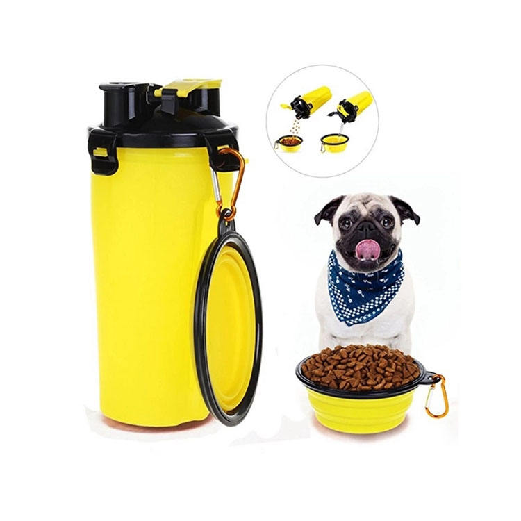 Independent Chamber Design Contain Food And Water Same Time Travel Collapsible Dog Portable Bowl Pet Water Bottle