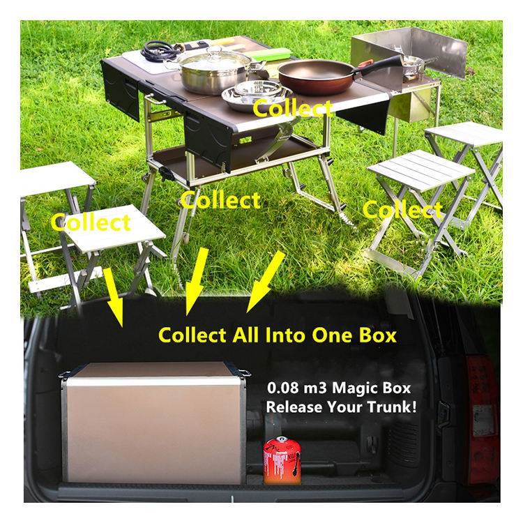 Lightweight portable pack-away kitchen outdoor picnic barbecue cooking table folding+tables with 4*foldable Aluminum stool