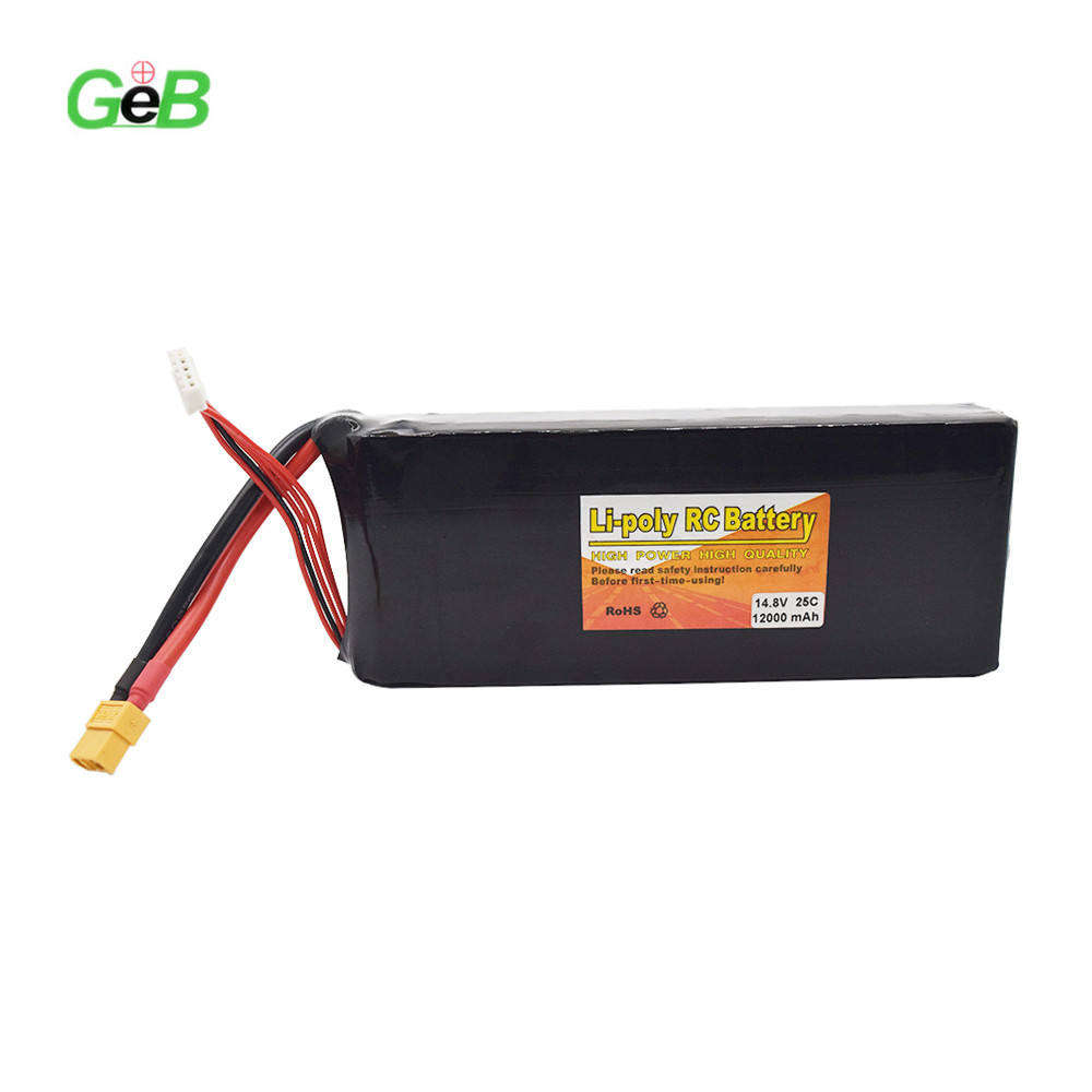 High Cycle Life 4S High Rate Li-poly RC Battery 4S 14.8V 12000mah 25C with XT90 Rechargeable Battery for RC Model airplane