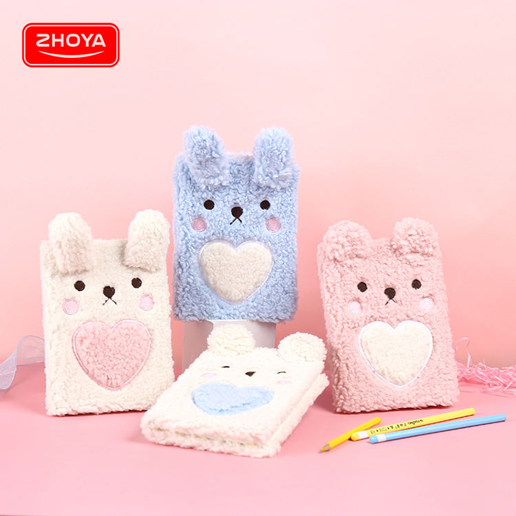 Professional supplier promotion gift plush covered note book, rabbit bear notebooks for kids