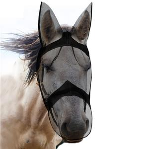 Breathable Full Face Quiet Ride Mesh Horse Fly Mask with Ears and Long Nose Protection