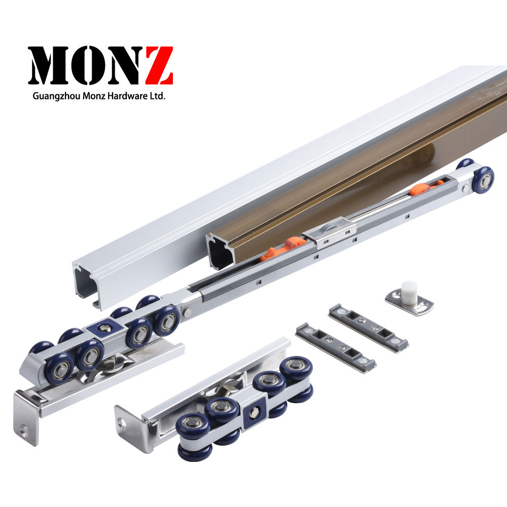 Wood and metal door double soft closing sliding system for door weighing up to 80kg hanging wheel hardware sliding door fitting