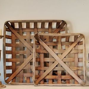square wooden rustic southern farmhouse decor set of two tobacco basket